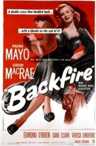 Movie Poster for 1950 film Backfire, with Virginia Mayo and Gordon MacRae.