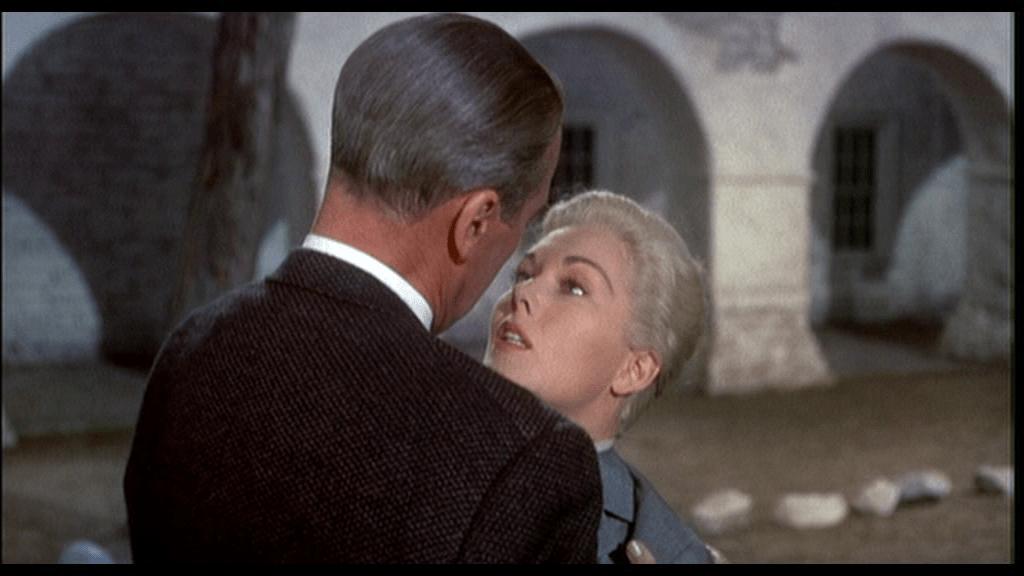 Scottie and Madeleine embrace for the last time in Vertigo (1958)