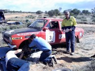 Car 3 after stage 17 repaired and going again - steering arm broken