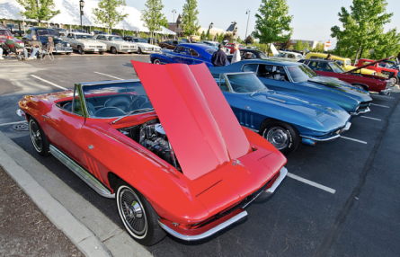 Classic cars parked at the Arboretum in South Barringonton, Illinois.