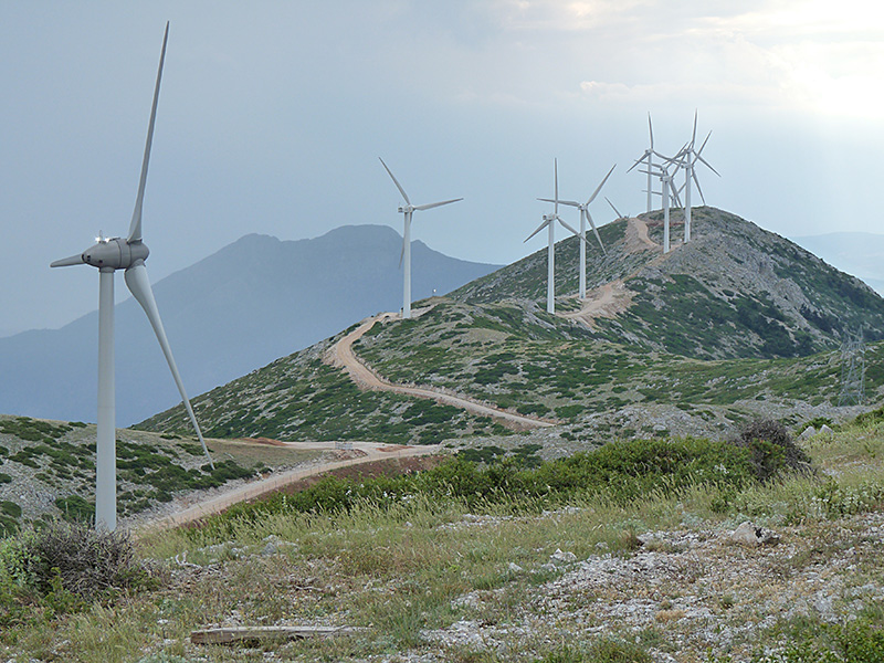 Summit of Mt Kithairon with wind turbines