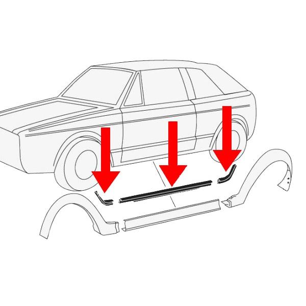 Uszczelki Pakietu Karmann (Czarne) VW Golf 1 Cabrio