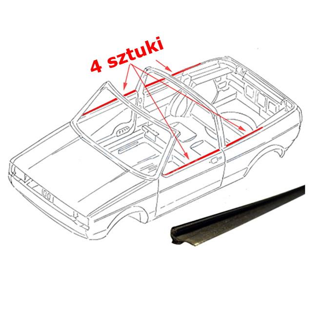 155837473 155837474 Uszczelki Zgarniające Szyb Zewnętrzne (Komplet) VW Golf 1 Cabrio
