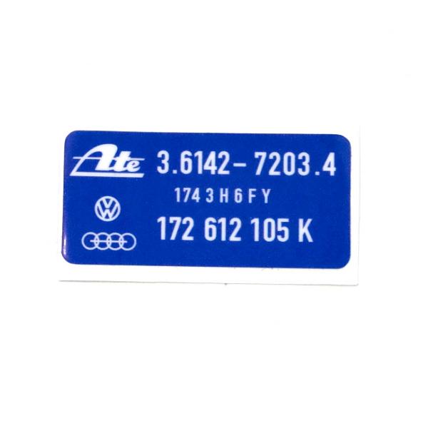 """172612105K Naklejka Serwisowa """"Serwo Hamulcowe ATE"""" VW Golf 1"""