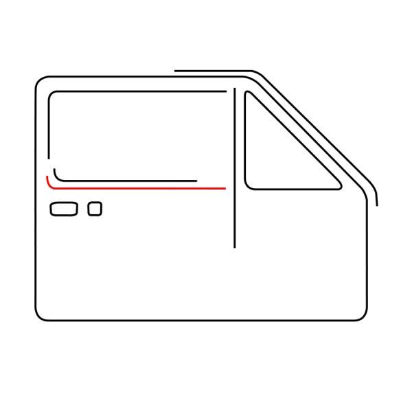 255837704 Uszczelka Zgarniająca Zewnętrzna Prawa (Pod Chrom) VW Golf 1, Jetta 1