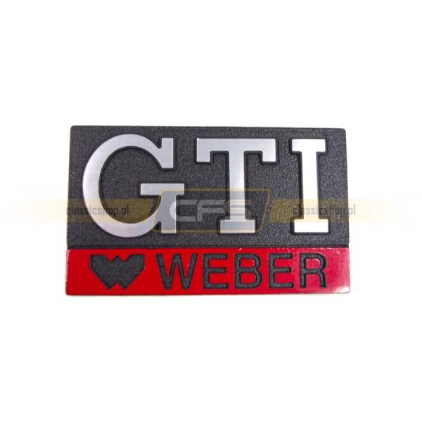 """Emblemat """"GTI WEBER"""" W Grill VW Golf 1, Jetta 1"""
