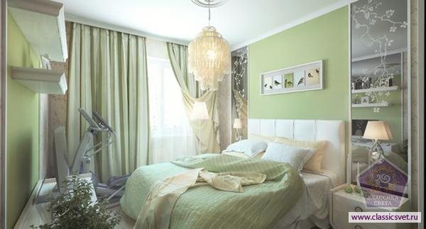Спальня в зеленом цвете 02