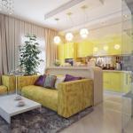 Декор кухни со светом совмещен с гостиной золотая стена в роли главной