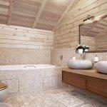 Душ на камне современный дизайн ванной комнаты со светом
