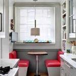 Белочерная кухня со стеклянной стеной мы объединяем стили в кухонной расстановке со светом