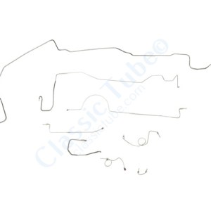 """Plymouth Barracuda Brake Line Kit  Power Drum - Right Front Routes Under Frame - 8-3/4"""" and Dana Axle (1 Pc. Front to Rear) -1970,1971"""