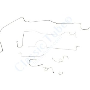 """Dodge Challenger Brake Line Kit  Standard Disc - Right Front Routes Over Frame - 8-3/4"""" and Dana - With Metering Valve (2 Pc. Front to Rear) -1970,1971"""