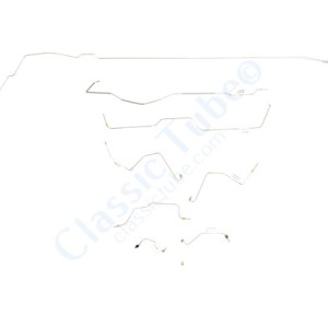 Ford Mustang Brake Line Kit (8pcs)  Power Drum - 6 Cylinder (Built Before Feb. 1967) - Right Front and Front to Rear Route Over Steering Box -1967