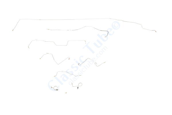 """Ford Mustang Brake Line Kit (8pcs)  Standard Drum - V8 - 8"""" and 9"""" Axle(Built Before Feb. 1967) - Right Front and Front to Rear Route Over Steering Box -1967"""