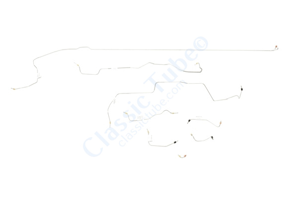 Ford Mustang Brake Line Kit (8pcs)  Power Disc - V8 - 8 in and 9 in Axle(Built After Feb. 1967) - Right Front and Front to Rear Routes Under Steering Box -1967