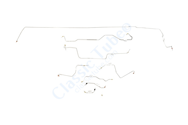 Ford Mustang Brake Line Kit (8pcs)  Power Drum - V8 - 9'' Axle - 28 Spline -1968,1969