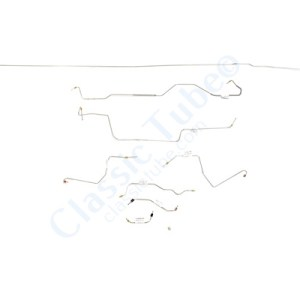 Ford Mustang Brake Line Kit (8pcs)  Power Drum - V8 - 9'' Axle - 28 Spline