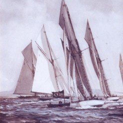 Schooner races around the mark