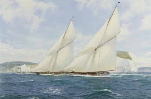 Lulworth and Shamrock off the Needles in 1929