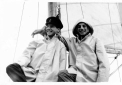 Owner's sons standing in front of the mizzen mast in 1956