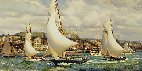 Viking leads the First Class yachts in the Auckland Anniversary Regatta of 1894. Oil on canvas - AD Blake