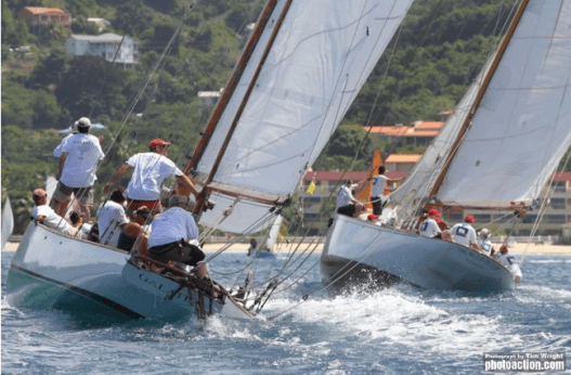 Vying for position with The Blue Peter, Grenada Sailing Week, 2015