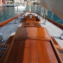 Hallowe'en on deck centre-line looking aft