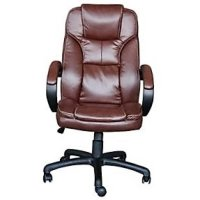 L Shaped Office Desk and Executive Leather Chair ...