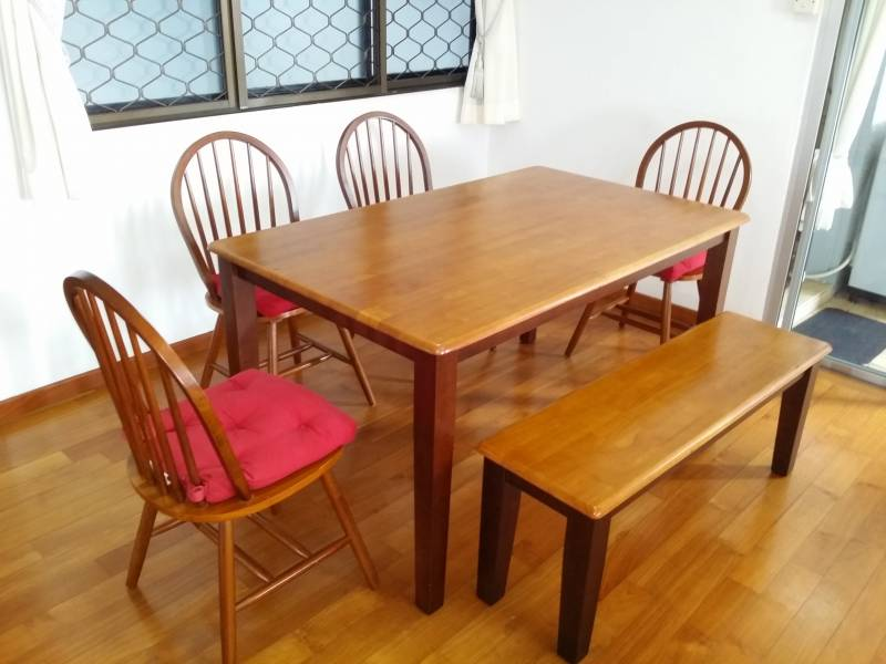 Coordinate your dining room in a snap by buying a table and chairs together in a matching set. Courts Dining Table Set 4 chairs and a bench • Singapore ...