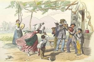 Groupe de personnes qui dansent sur une Tarantella