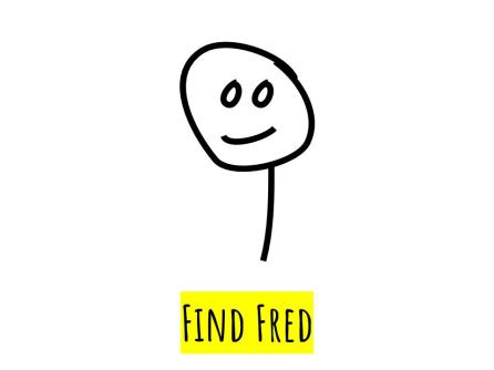 It's easy to find a smiling Fred in this image: there's no visual noise.