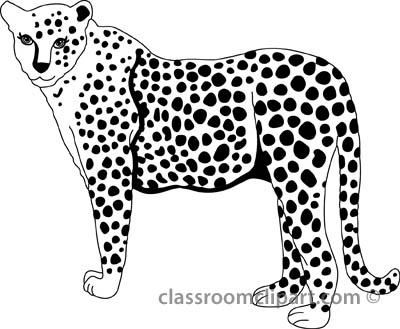Cheetah Clipart : cheetah_327_2bb_outline : Classroom Clipart