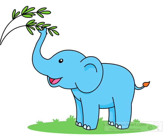 elephant clipart - cute-elephant-snaching-branch-tree