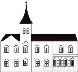 Architecture Clipart black white outline of old church clipart 218 Classroom Clipart