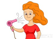 beauty cosmetics clipart - girl-hair-dryer-clipart