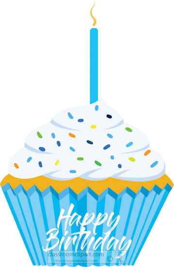 birthday clipart- blue-happy-birthday-cupcake-with-candle-clipart