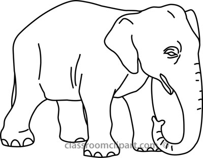 Animals : baby_elephant_outline_02_22812 : Classroom Clipart