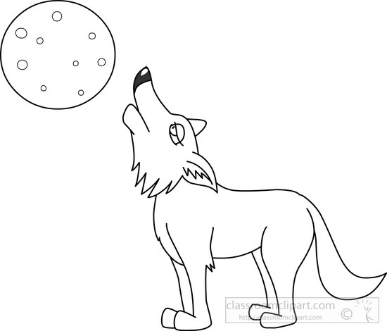 Animals : coyote-black-white-outline-clipart-7213