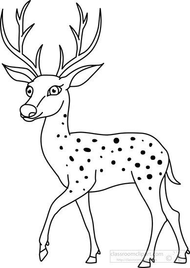 Animals : deer-black-white-outline-clipart-72099
