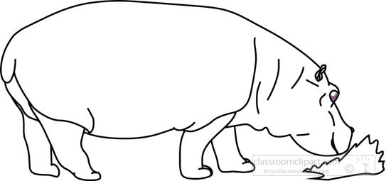 Animals : hippopotamus_blue_sky_grass_02_outline
