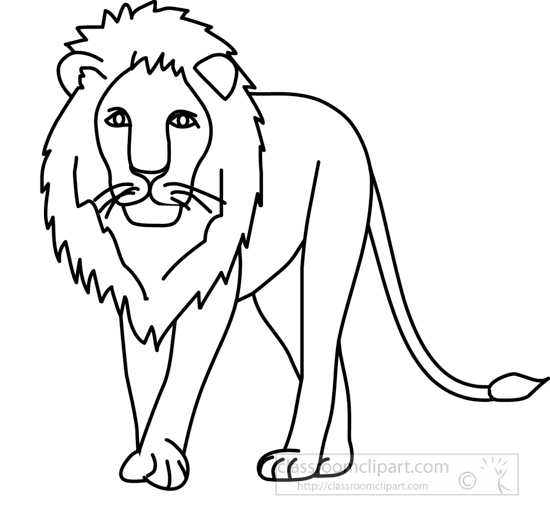 Animals : lion_front_03A_outline : Classroom Clipart