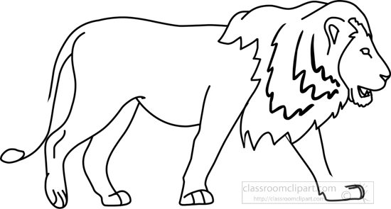 Animals : lion_side_04A_outline : Classroom Clipart