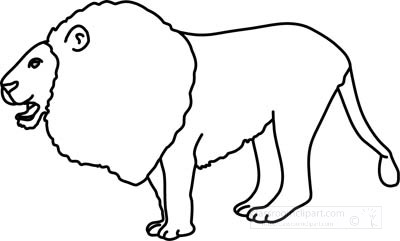 Animals : lion_standing_4_212_outline : Classroom Clipart