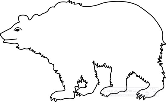 Animals : outline-polar-bear : Classroom Clipart