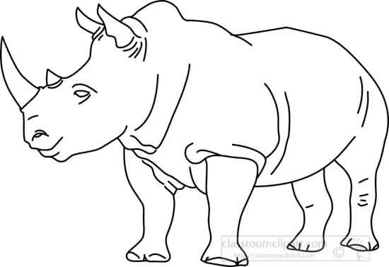 Animals : rhinoceros_04A_outline : Classroom Clipart