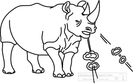 Animals : rhinoceros_05A_outline : Classroom Clipart