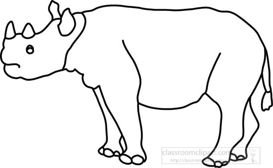 Animals : rhinoceros_327_4A_outline : Classroom Clipart