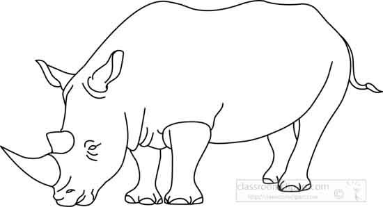 Animals : rhinoceros_outline_01_22912 : Classroom Clipart