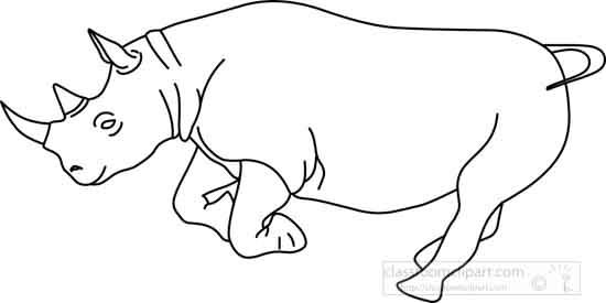 Animals : rhinoceros_outline_02_22912 : Classroom Clipart