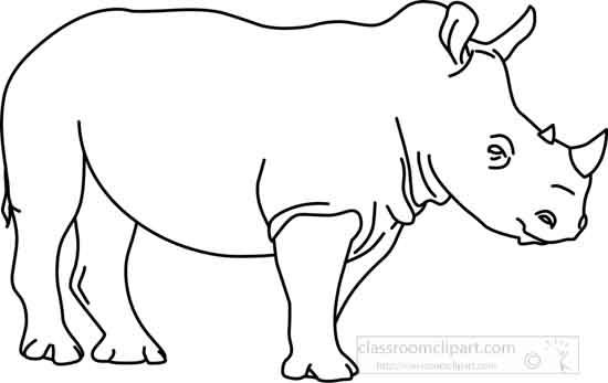 Animals : rhinoceros_outline_03_22912 : Classroom Clipart